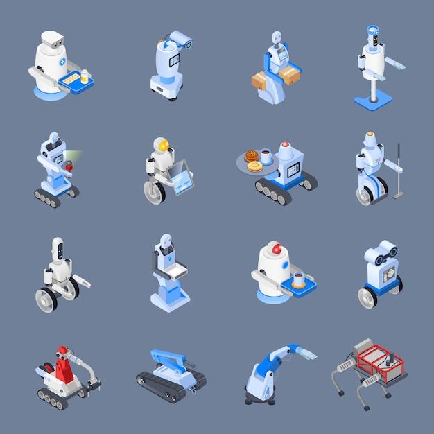 Robot professions icon set Vecteur gratuit