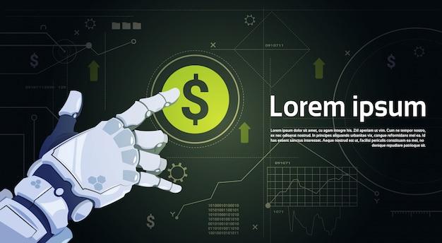 Robot toucher signe dollar numérique bouton protection de l'argent concept bannière avec espace de copie Vecteur Premium