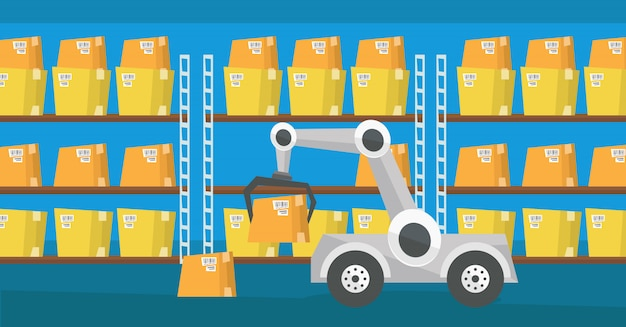 Robot De Transport D'entrepôt. Vecteur Premium