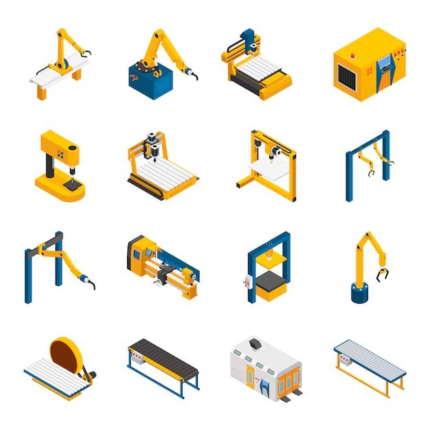 Robotic machinery icons set Vecteur gratuit