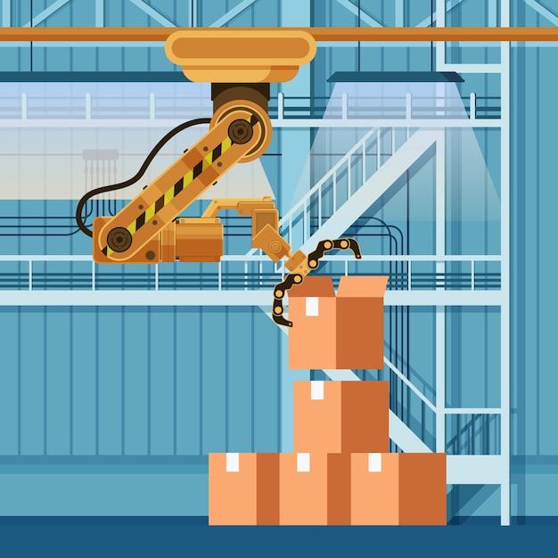 Robotic packing claw lifting open boxboard box Vecteur Premium