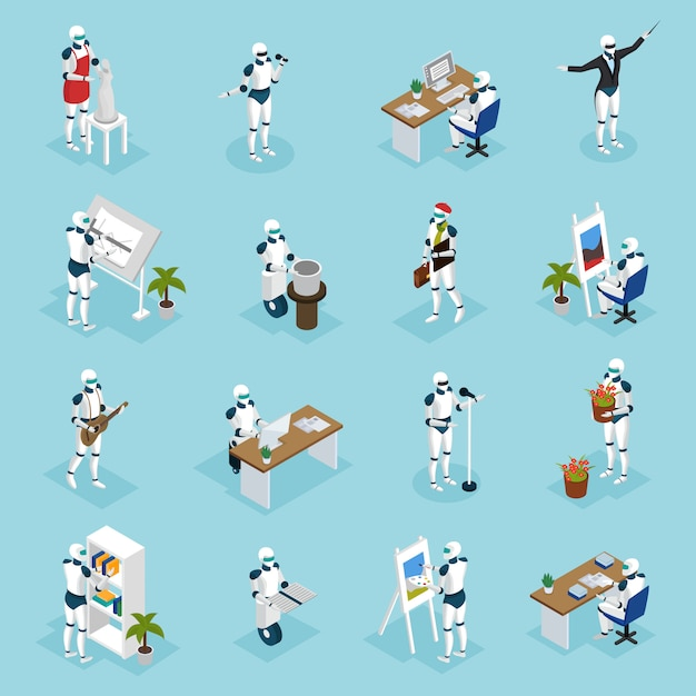 Robots Créatifs Personnages Isométriques Vecteur gratuit
