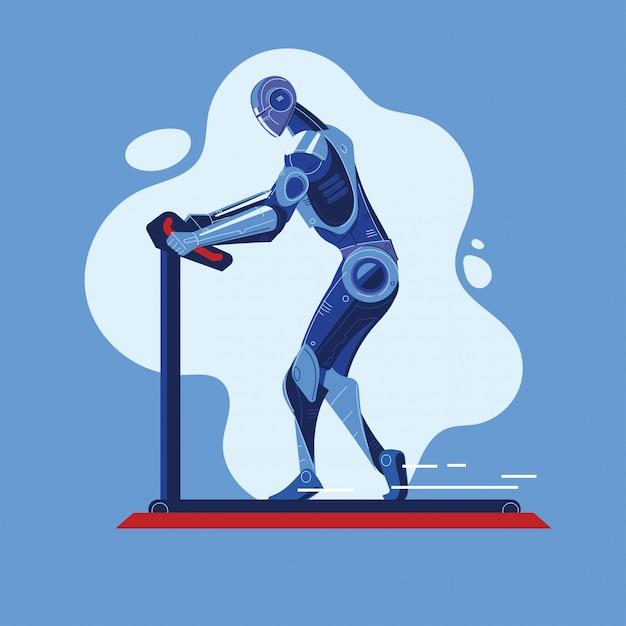 Des robots exécutent un tapis roulant dans le concept sport fitness Vecteur Premium