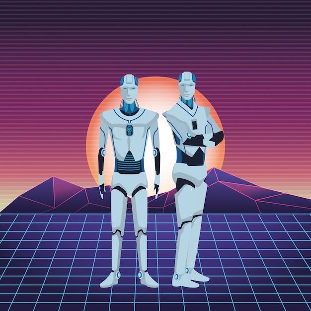 Robots humanoïdes avatar Vecteur Premium