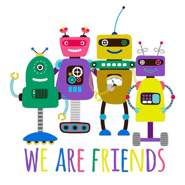 Les Robots Impriment L'illustration De La Carte De Concept D'amitié Vecteur Premium