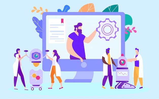 Robots d'installation et de production. étudier en ligne. e-learning. la formation en ligne Vecteur Premium