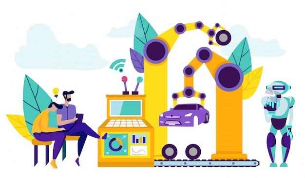 Robots intelligents sur la chaîne de production pour l'assemblage de voitures. Vecteur Premium