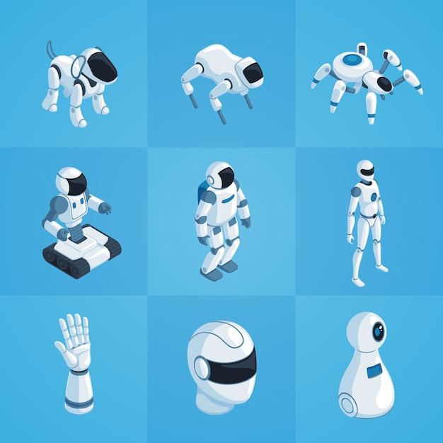 Robots isometric icons set Vecteur gratuit