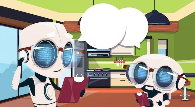 Robots Ménagers Utilisant Le Système De La Maison Intelligente Pour Nettoyer La Salle De Cuisine Vecteur Premium