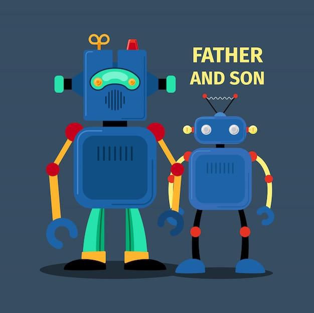 Robots père et fils Vecteur Premium