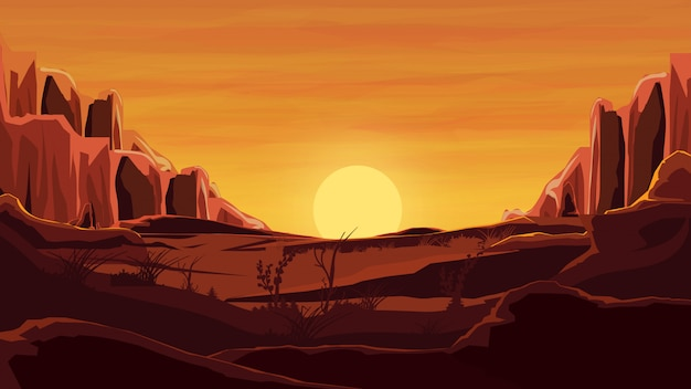 Rochers dans le désert, coucher de soleil orange, montagnes, sable, ciel magnifique. Vecteur Premium