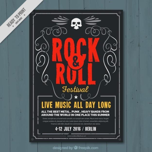 Rock and festival de musique de rouleau affiche Vecteur gratuit