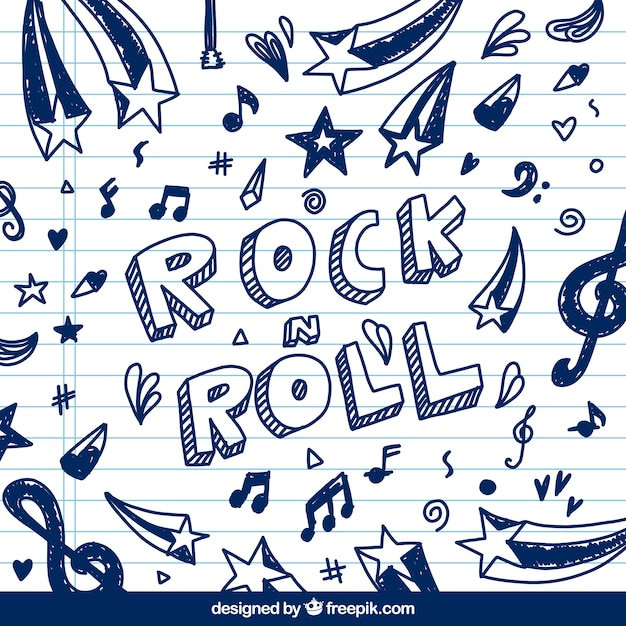 Rock and roll background avec des croquis de notes musicales Vecteur gratuit