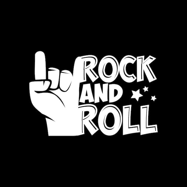 Rock and roll lettrage typographie citation Vecteur Premium