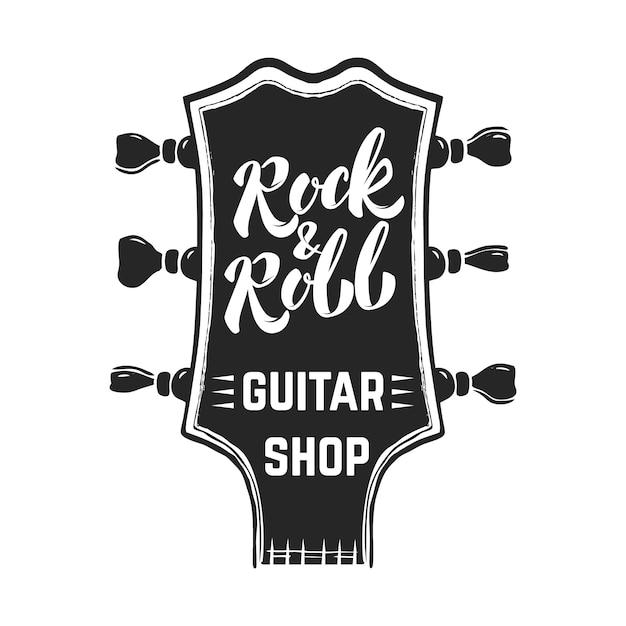 Rock And Roll. Tête De Guitare Avec Lettrage. éléments Pour Logo, étiquette, Emblème, Signe, Affiche. Image Vecteur Premium