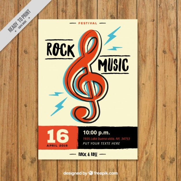 Rock Dépliant Avec Clé De Sol Vecteur gratuit
