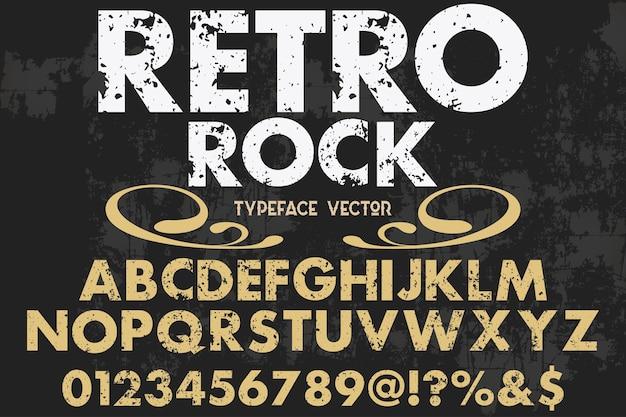 Rock design rétro alphabet polices Vecteur Premium