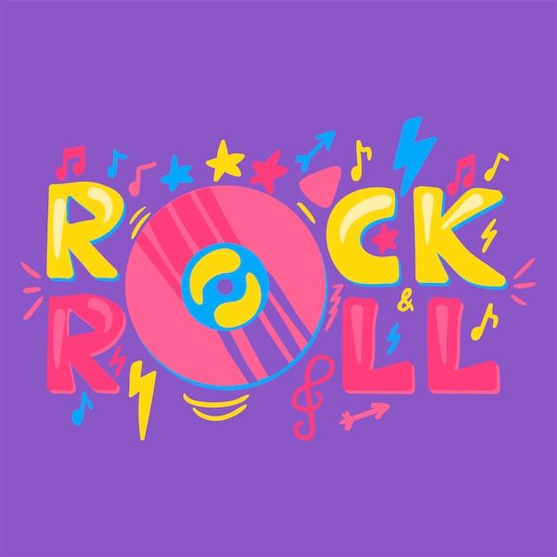 Rock n roll lettrage de vecteur dessiné à la main Vecteur Premium