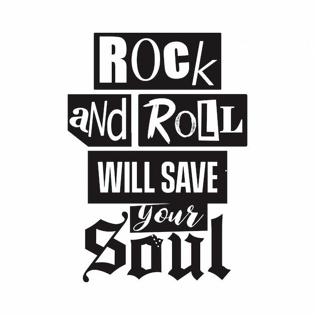 Rock et rock typo Vecteur Premium