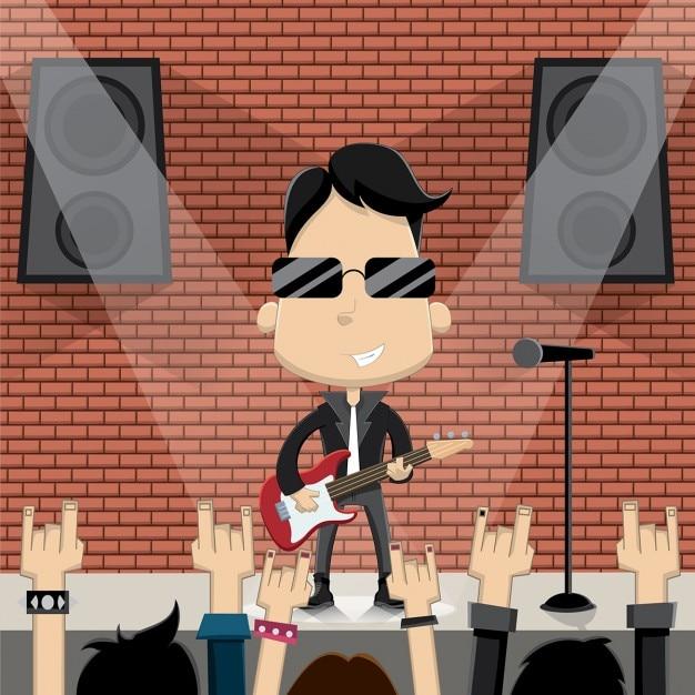 Rock star caractère gars conception vector Vecteur gratuit