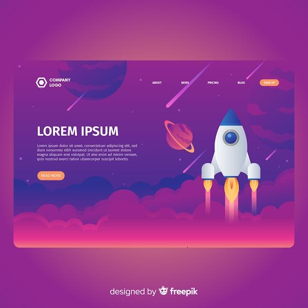 Rocket in space landing page Vecteur gratuit