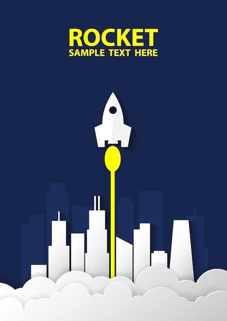 Rocket s'envole du sol pour explorer les étoiles. Vecteur Premium