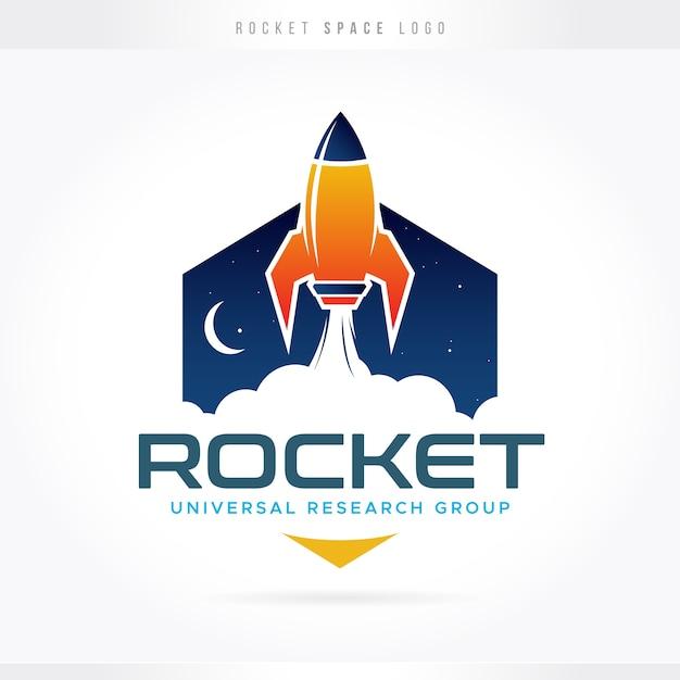 Rocket space science logo Vecteur Premium