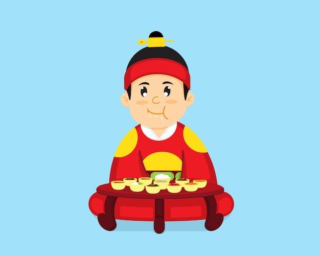 Le roi coréen est assis pour manger de la nourriture coréenne. Vecteur Premium