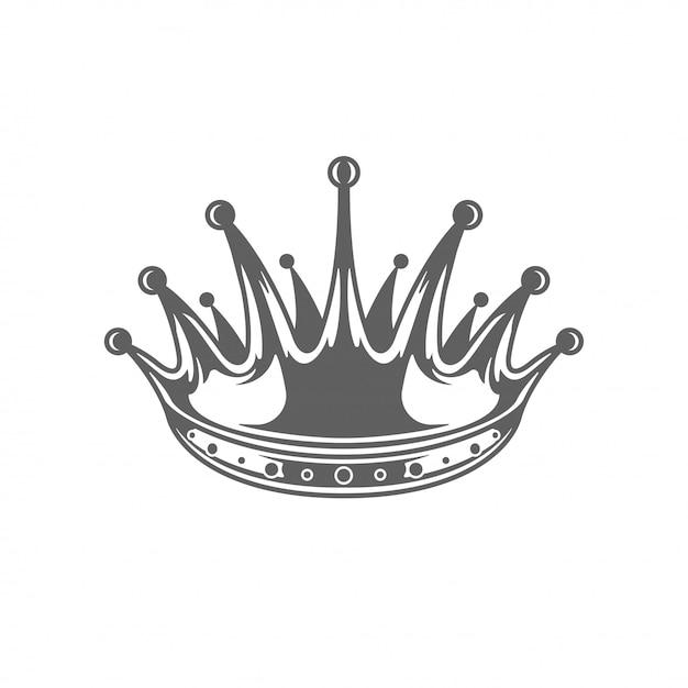 Roi couronne royale ilhouette isolé sur fond blanc. Vecteur Premium