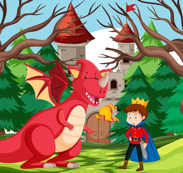 Un roi et un dragon au château Vecteur Premium