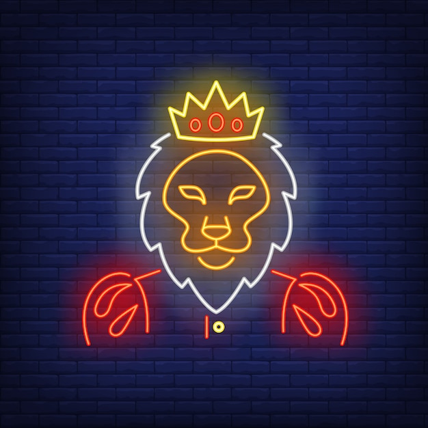 Roi lion enseigne au néon Vecteur gratuit