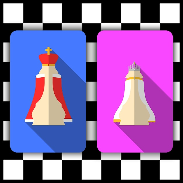 Roi et reine d'échecs Vecteur Premium