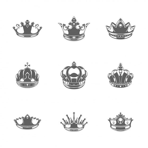 Roi des silhouettes couronnes mis en illustration vectorielle isolé Vecteur Premium