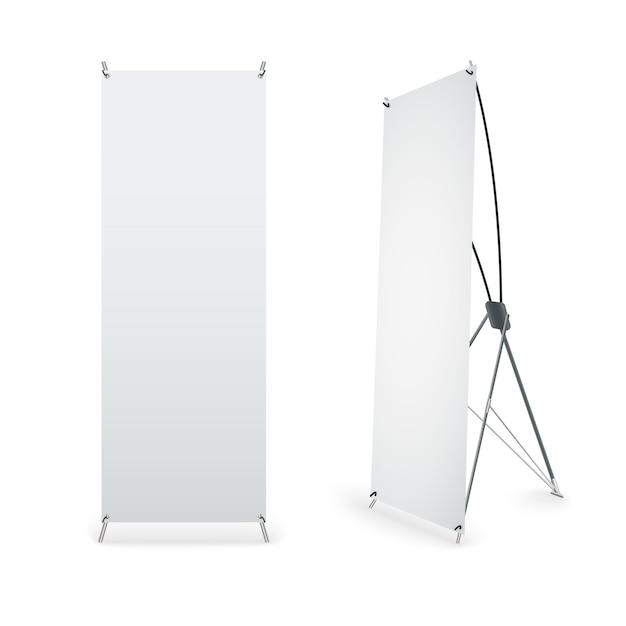 Roll up banner isolé sur fond blanc Vecteur Premium