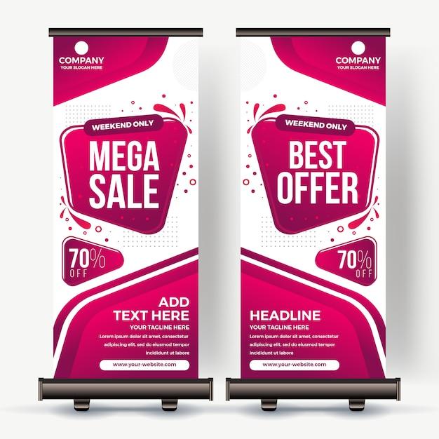 Roll up banner meilleure vente couleur moderne Vecteur Premium
