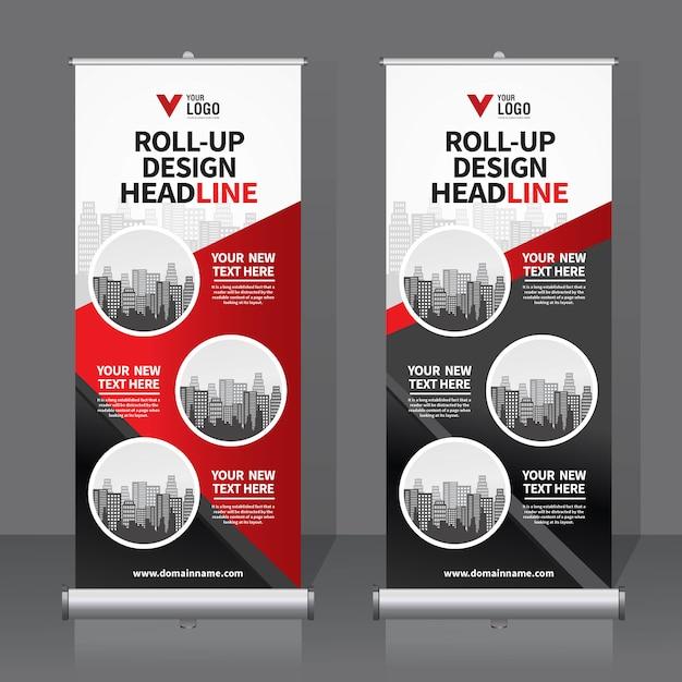 Roll up bannière modèle Vecteur Premium