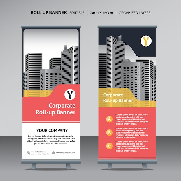 Roll up design template Vecteur Premium