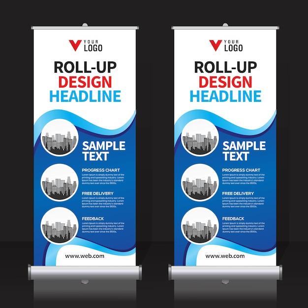Roll up template de conception de bannière Vecteur Premium