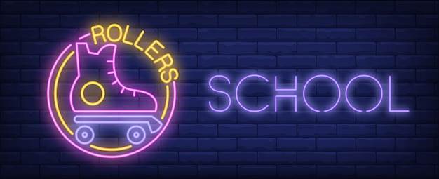Rollers école Néon Signe. Patin à Roulettes Vintage Et Inscription Rougeoyante Sur Le Mur De Briques. Vecteur gratuit