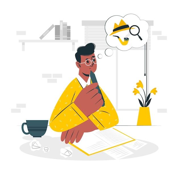 Romancier écrit Concept Illustration Vecteur gratuit