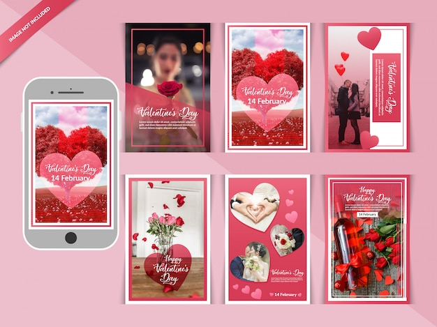 Romantique saint valentin instagram post Vecteur Premium