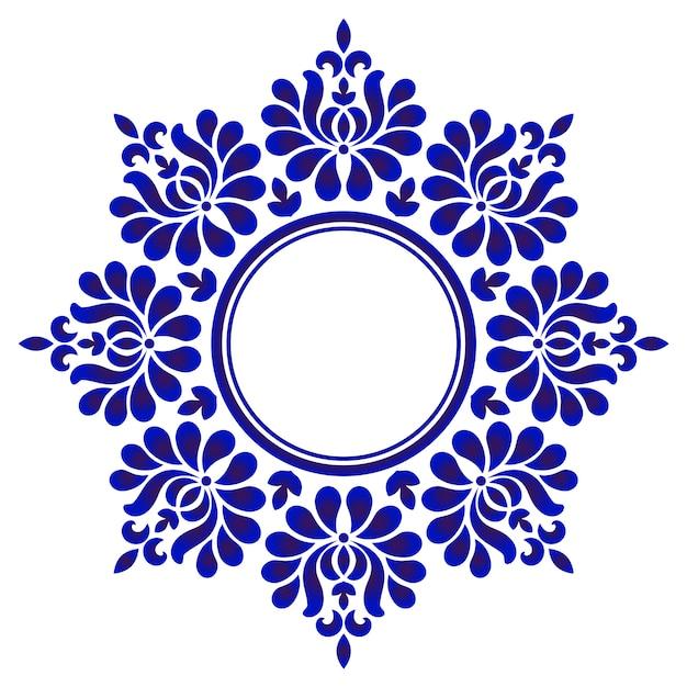 Rond ornement bleu, cadre art cercle décoratif, frontière ornement floral abstrait, modélisme en porcelaine Vecteur Premium