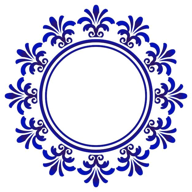 Rond ornement bleu, cadre d'art décoratif Vecteur Premium