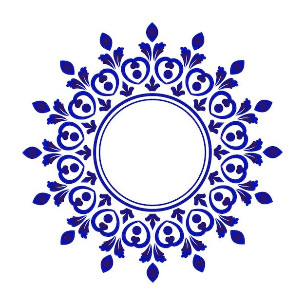 Rond ornement bleu Vecteur Premium