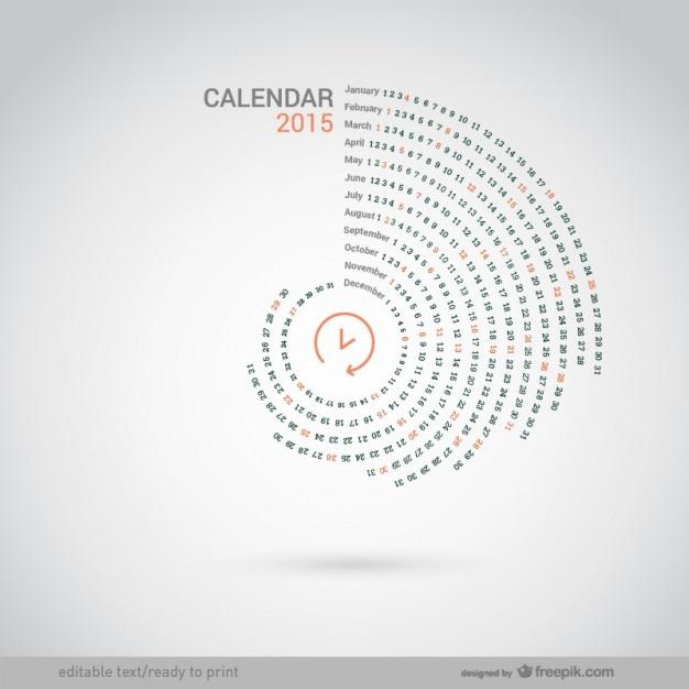 Ronde 2015 calendrier Vecteur gratuit