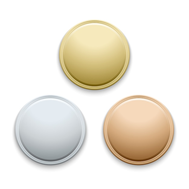 Rondes polies vides or, argent, bronze, médailles, modèle de pièces Vecteur Premium