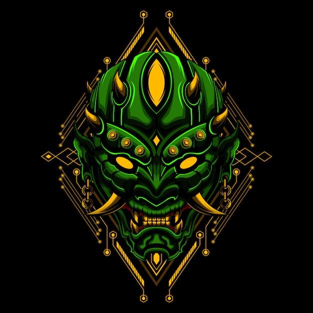 Ronin masque diable diabolique vecteur illustraton Vecteur Premium