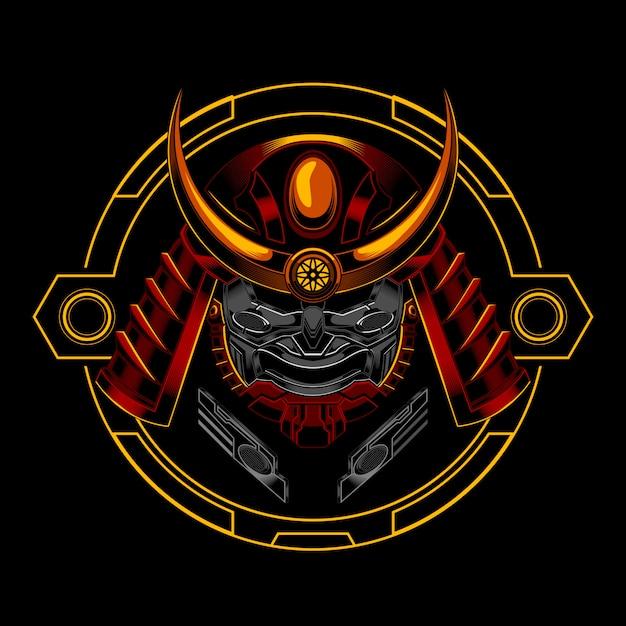 Ronin robotic samurai knight Vecteur Premium