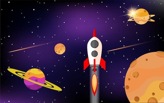 Les roquettes volent entre les belles planètes de la galaxie Vecteur Premium