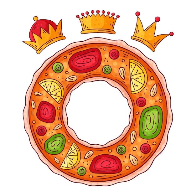 Roscón De Reyes Dessiné à La Main Vecteur gratuit